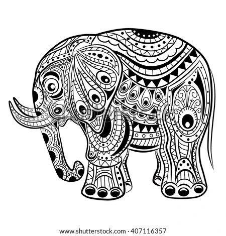 Drawing unique ethnic elephant head for… Stock Photo