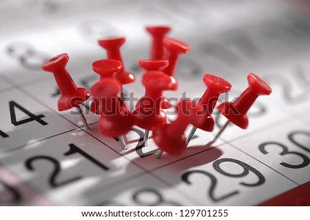 Important date or concept for busy day being overworked - stock photo