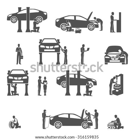 Auto Mechanic Technician Performing Diagnostic Test And