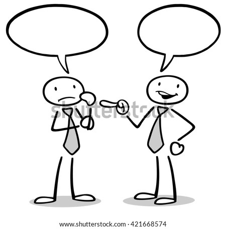 Two cartoon business people talking… Stock Photo 448671913
