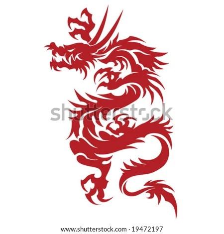 stock vector : Tribal Tattoo Dragon