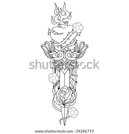 stock vector : Dagger Tattoo Outline Artwork