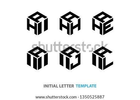 Polygon shaped vector logo with… Stock Photo 409804495