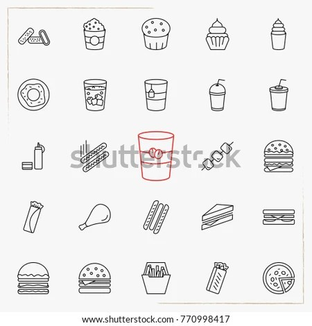 Collection of dessert, food and drink … Stock Photo