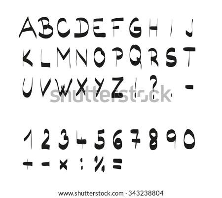 Handwritten Calligraphic Black Alphabet Font Which