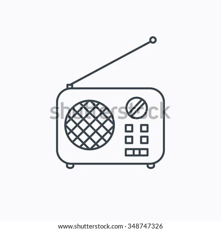 Radio Icon. Retro Musical Receiver Sign. Linear Outline