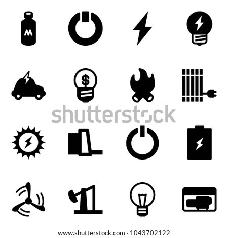 Vector black electricity icons set on… Stock Photo