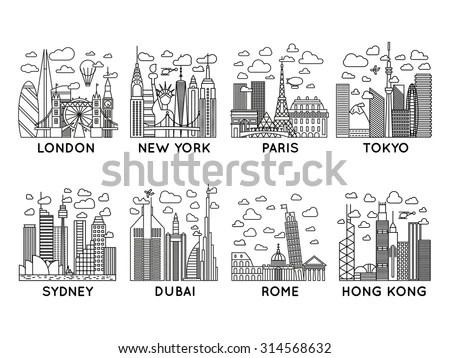 Line Vector City Icons. London, New York, Paris, Tokyo