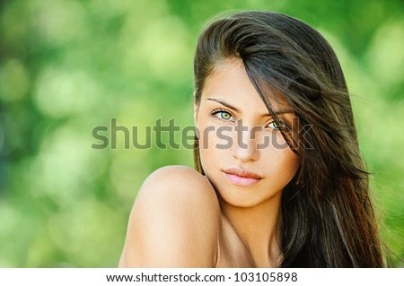 Portrait Of Young Beautiful Woman With Bare Shoulders , On Green Background Summer Nature. Stock Photo 103105898 : Shutterstock