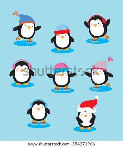 Super cute vector penguins
