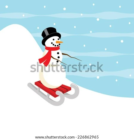 Adorable sledding snowman vector