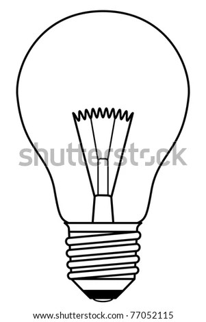 Traditional Inefficient Incandescent Light Bulb In A Black