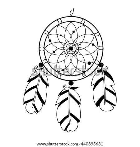 Dreamcatcher, feathers and beads.… Stock Photo 423717247