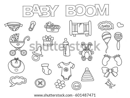 Royalty-free Set of vector hand drawn baby icons