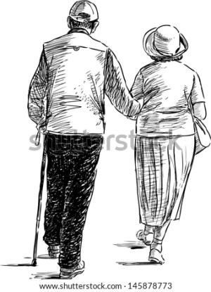 couple elderly vector sketch walking drawing walk couples shutterstock woman drawings dessin sketches personne royalty vectors marche sitting personnes person