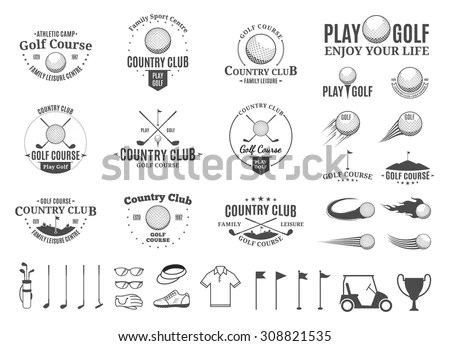Set Of Golf Country Club Logo Templates. Golf Labels With