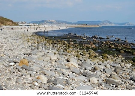 landscape of rocky beach with pebbles