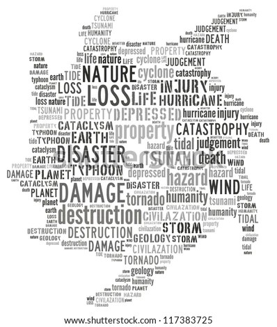 Word Collage Of Natural Disaster: Hurricane Stock Photo
