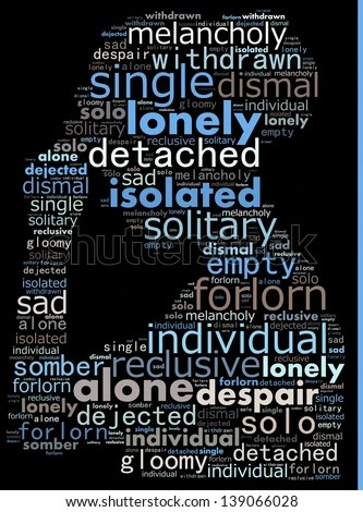 Concept of loneliness in word collage - stock photo