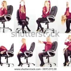Office Chair Exercises Occasional Chairs With Arms Free Photos Lady Poses On Avopix Com Collage Young Business Woman Doing In Her For Neck Shoulders And Back