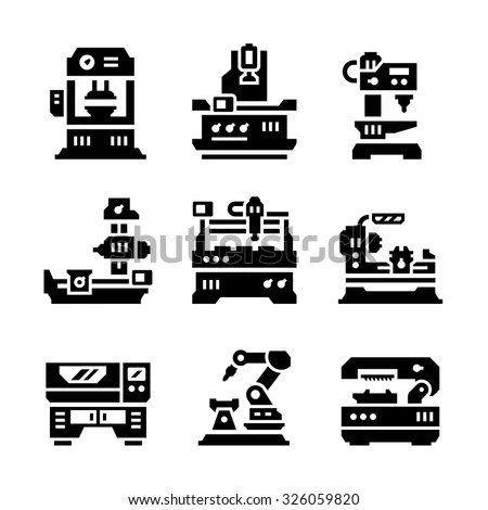 Vector machine tool icons set. Work and… Stock Photo