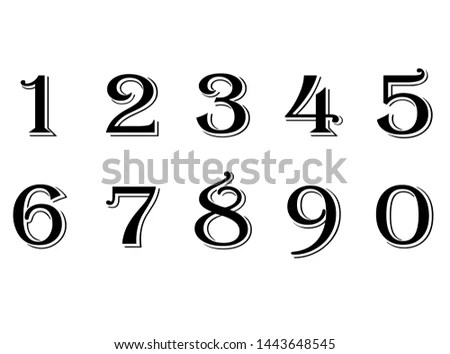Vintage numbers set including dollar,… Stock Photo