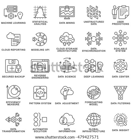 Royalty-free Stroke line icons set of AI machine