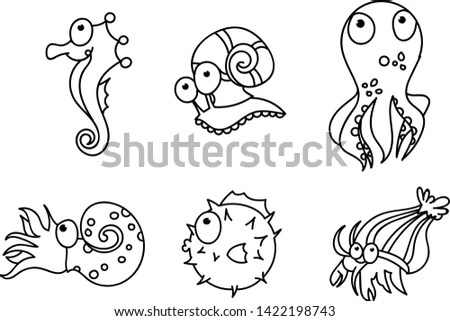 Sea animal vector cartoon, cute aquatic… Stock Photo
