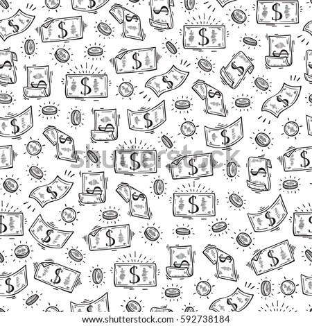 Falling Money 3d Wallpaper Premium Money Rain Vector Seamless Pattern Stock Photo 594013670