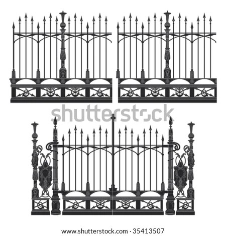 Wrought Iron Gate And Fence Stock Vector Illustration