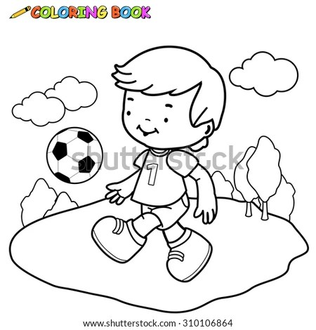 Coloring Page Outline Of cartoon boy… Stock Photo