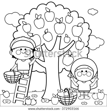 Vector Black And White Illustration Of Two Children, A Boy