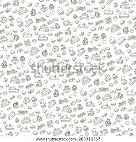 Bakery,Cakes,Dessert,Pastries Linear Pattern.Doodle Vector