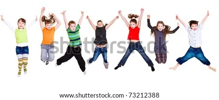 stock photo : Collection of active junior kids jumping
