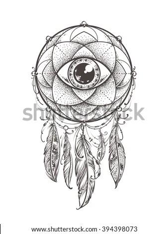 Abstract Art Of Original Dream Catcher Symbol. Geometric