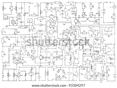 Electronics Background With Circuit Diagrams Stock Photo