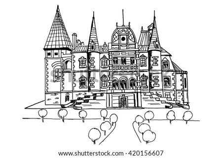 Hand Drawn Ink Line Sketch Of Palace In Massandra. Crimea
