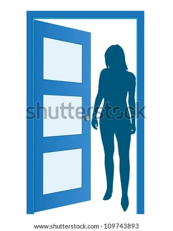 Blue opened door with woman's silhouette, vector - stock vector