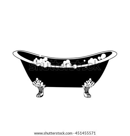 Hot Tub Bath Icon Elegant Bath In Vintage Style With
