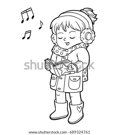 Royalty-free Coloring Page Outline Of cartoon girl