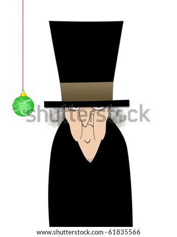 Humorous illustration cartoon of Ebenezer Scrooge with one green ornament - stock photo