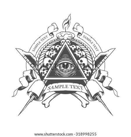 All Seeing Eye. Mystic Occult Esoteric. Stock Vector