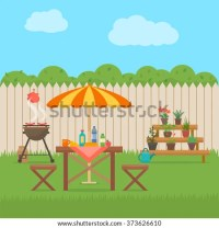 House Backyard With Grill. Outdoor Picnic. Barbecue In ...