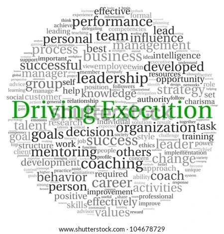 Driving Execution Concept In Word Tag Cloud On White