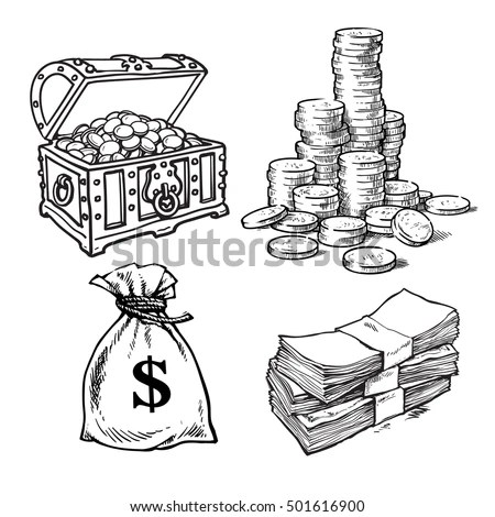Royalty-free Finance, money set. Stack of coins