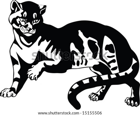 stock vector : Black panther. Big cats. Tattoo.