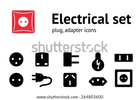 Electric Plug, Adapter, Socket Base Icon Set. Power Energy