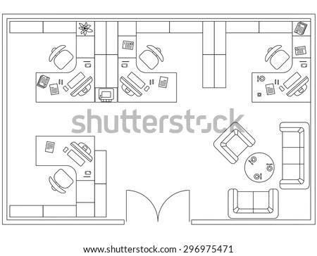 Architectural Set Of Furniture. Interior Design Elements