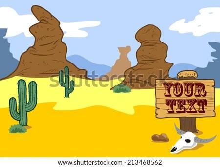 cute desert cartoon landscape stock