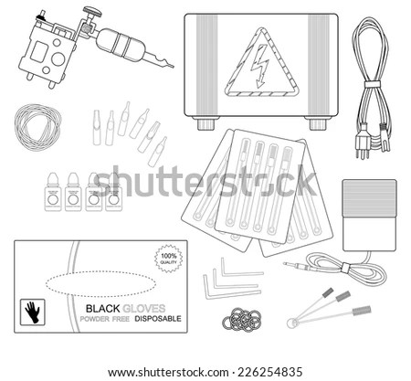 Set Of Professional Tattoo Equipment: Tattoo Machine